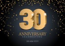 Jahrestag 30 Zahlen des Gold 3d vektor abbildung
