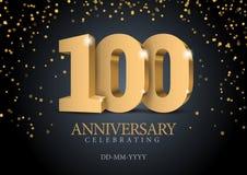 Jahrestag 100 Zahlen des Gold 3d lizenzfreie abbildung