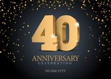 Jahrestag 40 Zahlen des Gold 3d stock abbildung