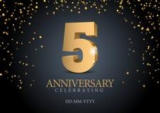 Jahrestag 5 Zahlen des Gold 3d stock abbildung