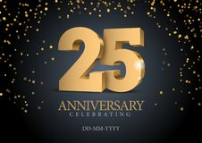 Jahrestag 25 Zahlen des Gold 3d vektor abbildung
