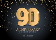Jahrestag 90 Zahlen des Gold 3d vektor abbildung