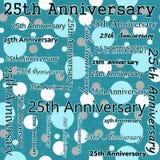 25. Jahrestags-Design mit Teal Polka Dot Tile Pattern-Wiederholung Lizenzfreies Stockfoto