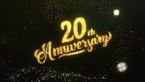 20. Jahrestags-Text-Gruß wünscht Feuerwerk des Wunderkerze-Partikel-nächtlichen Himmels