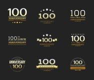 100. Jahrestagsfeier-Logosatz 100-jährige Jubiläumfahne stock abbildung
