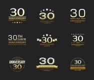 30. Jahrestagsfeier-Logosatz 30-jährige Jubiläumfahne lizenzfreie abbildung