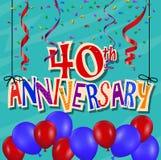 Jahrestagsfeierhintergrund mit Konfettis und Ballon Stockbilder