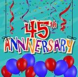 Jahrestagsfeierhintergrund mit Konfettis und Ballon Stockfotos
