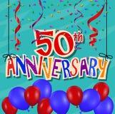 Jahrestagsfeierhintergrund mit Konfettis und Ballon Lizenzfreie Stockfotografie