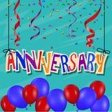 Jahrestagsfeierhintergrund mit Konfettis und Ballon Stockfotografie