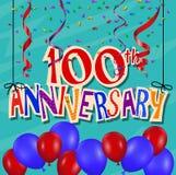 Jahrestagsfeierhintergrund mit Konfettis und Ballon Lizenzfreie Stockbilder