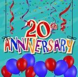 Jahrestagsfeierhintergrund mit Konfettis und Ballon Stockfoto