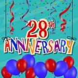Jahrestagsfeierhintergrund mit Konfettis und Ballon Lizenzfreie Stockfotos