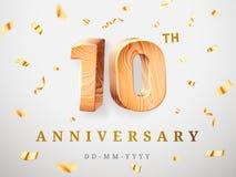 10 Jahrestagsgoldhölzerne Zahlen mit goldenen Konfettis 10. Jahrestag der Feier, Nummer Eins und nullschablone vektor abbildung