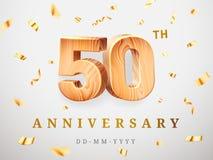 50 Jahrestagsgoldhölzerne Zahlen mit goldenen Konfettis Jahrestag der Feier 50., nummerieren fünf und null schablone lizenzfreie abbildung