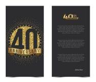 40. Jahrestagskarte mit Goldelementen Stockbilder