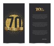 70. Jahrestagskarte mit Goldelementen Stockbild