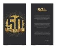50. Jahrestagskarte mit Goldelementen Lizenzfreie Stockfotos