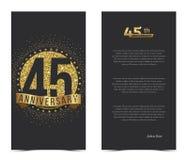 45. Jahrestagskarte mit Goldelementen Lizenzfreies Stockbild