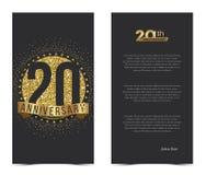 20. Jahrestagskarte mit Goldelementen Stockfotografie