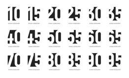 Jahrestagslogo, der negative stilisierte Raum unterzeichnet, Jahrestag feiern Embleme, Jahrhundertzahlen Sammlung, Geburtstag lizenzfreie abbildung