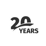 20. Jahrestagslogo des abstrakten Schwarzen auf weißem Hintergrund Firmenzeichen mit 20 Zahlen Zwanzig Jahre Jubiläumfeier Stockfotografie