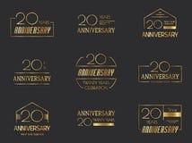 20. Jahrestagslogosammlung stock abbildung