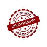 30. Jahrestagsstempelillustration Lizenzfreies Stockfoto