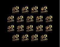 Jahrestagsvektor-Kursivzahlen eingestellt Geburtstagsfeier-Logosammlung Goldene Jahre Zeichen auf schwarzem Hintergrund Stockbilder