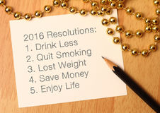 2016 Jahresvorsätze Lizenzfreies Stockfoto