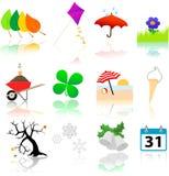 Jahreszeit-Änderungs-Ikonen Stockbild