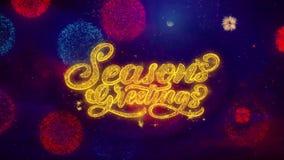 Jahreszeit-Grüße, die Text-Schein-Partikel auf farbigen Feuerwerken grüßen