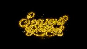 Jahreszeit-Gruß-Typografie geschrieben mit goldenen Partikel-Funken-Feuerwerken