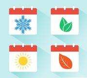 Jahreszeiten auf dem Kalender Winter, Frühling, Sommer und Herbst Vier verschiedene Arten Bäume lokalisiert auf weißem Hintergrun vektor abbildung