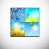 Jahreszeiten im Puzzlespiel Stockbilder