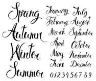 Jahreszeiten, Monate und Zahlen stock abbildung