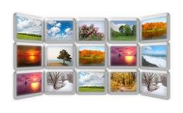 Jahreszeitnatur auf Collage vieler grunge Bildschirme Lizenzfreie Stockbilder