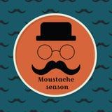 Jahreszeitschnurrbart Vector Illustration mit einem Schnurrbart, einem Hut und einem g Lizenzfreies Stockbild