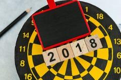 Jahrorientierungswertkonzept 2018 mit Holzklötzen Nr. 2018 stockfoto