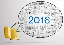 Jahrplan für 2016 Gekritzel mit Notizbuch 3d und Füllfederhalter Lizenzfreie Stockfotografie