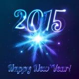Jahrsymbol 2015 mit glänzender kosmischer Schneeflocke Lizenzfreies Stockfoto