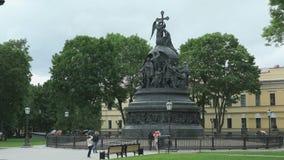 Jahrtausend von Russland-Monument in Veliky Novgorod stock video footage