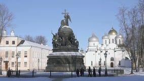 Jahrtausend von Russland-Monument in Veliky Novgorod stock footage
