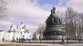 Jahrtausend von Russland-Monument in Veliky Novgorod stock video footage
