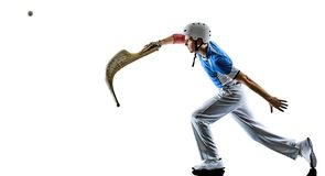 Jai Alai pelota rCesta Punta gracza Baskijski mężczyzna odizolowywał silhouet zdjęcie royalty free
