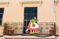 Jaia Corema, a traditional symbol of Lent in Mallorca on the facade of a house in Esporles stock images