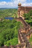 Jaigarh Famous Fort Wall. Jaigarh Fort boundary wall famous as Indian China Wall.Jaipur,Rajasthan royalty free stock photo