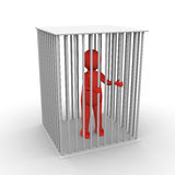 In jail. Red man in white jail Royalty Free Stock Images
