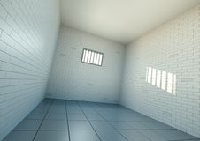 Jail. Empty prison cell, wide angle view. 3D rendered image Stock Image
