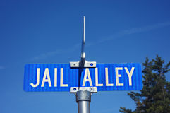 Jail Alley Road Sign Royalty Free Stock Photography